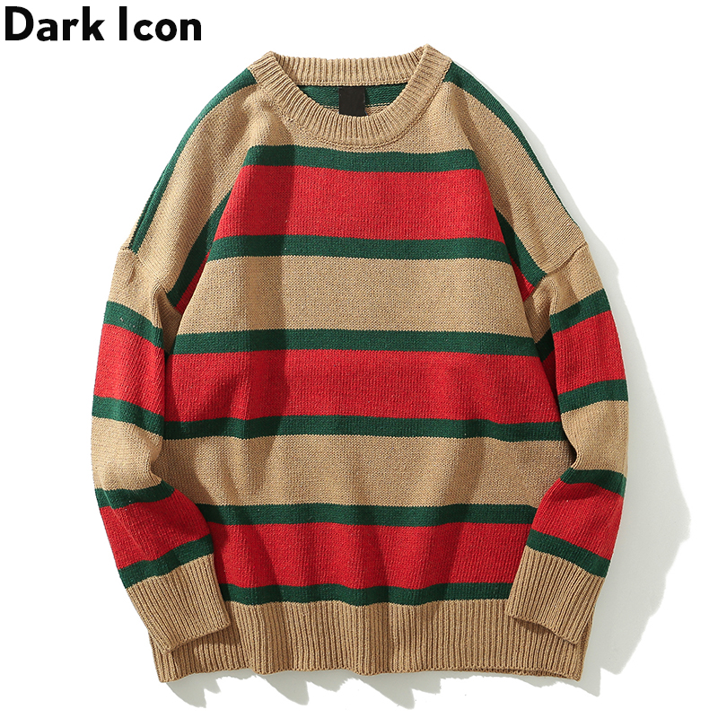 Dark Icon Big Stripe O-neck Men's Sweater Loose Style Sweaters Men Long Sleeve Streetwear Clothing 6Colors