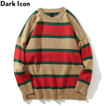 Dark Icon Big Stripe O-neck Mens Sweater Loose Style Sweaters Men Long Sleeve Streetwear Clothing 6Colors