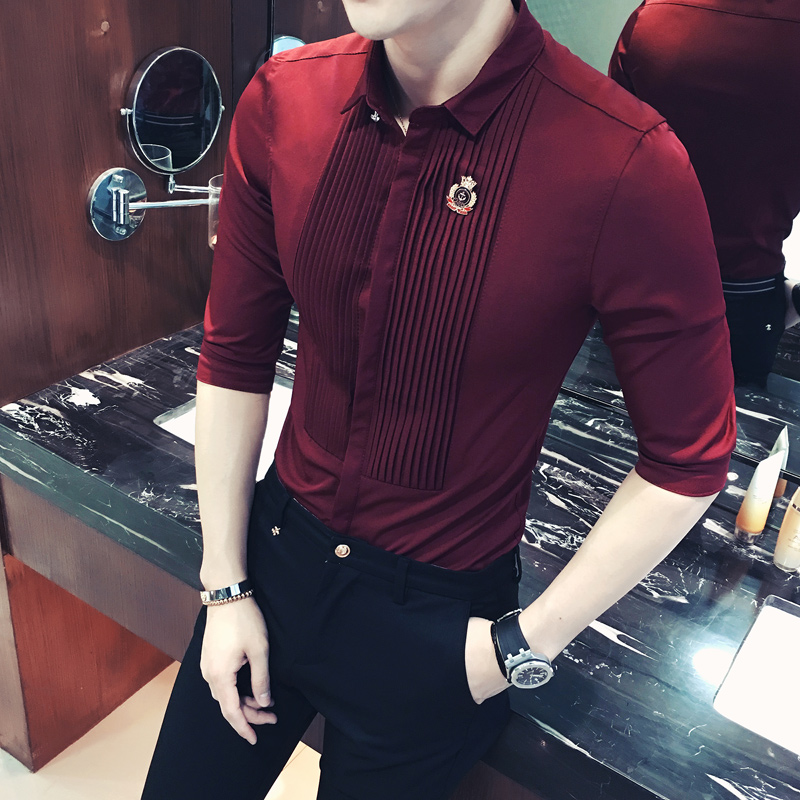 Short Sleeve Mens Dress Shirts 2018 Summer Fashion Camisa Social Masculina Slim Fit Male Shirt Wine Red White  Black