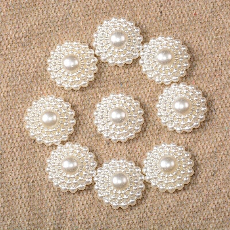 12 мм 45 шт. белый Цвета жемчуг полукруглый Flatback с цветами и бусинами для Модные украшения бусины Craft телефон украшения