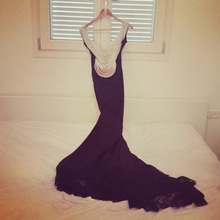 free shpping 2013 vestidos formal evening bridal gown black long sleeve special occasion dresses party pron