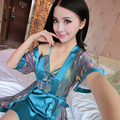 2016 New Spring Summer Autumn Women Silk Nightdress 2pcs sets of Robe & Nightgown Lady Sexy Dress Female Sleepwear Home Clothing