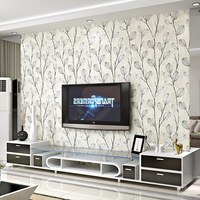 White Leaf wall paper 3d flocking for TV Background Modern Fashion Gray Non woven Wallpapers For Living Room Bedroom Decor