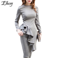 Ellacey Spring Autumn Ruffles Two Piece Outfits Gray Women's Tracksuits Top and Pants Suits Ladies Pencil Pants 2 Pieces Set