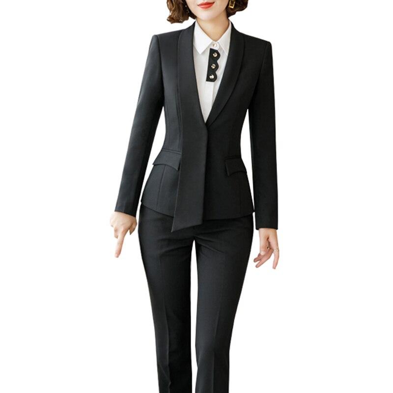 2 Stück Grau Hose Anzüge Formalen Damen Büro Ol Uniform Große Größe Frauen Elegante Business Arbeit Tragen Blazer Mit Hosen Sets Durchblutung GläTten Und Schmerzen Stoppen