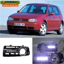 eeMrke LED Daytime Running Lights For VW Volkswagen Golf 4 MK4 1998-2005 White DRL Light Fog Lamp Cover Kits