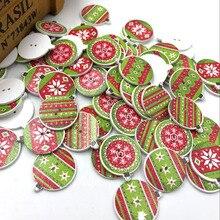 50 шт Смешанные рождественские Детские/Детские Деревянные Кнопки DIY Ремесло Швейные 23 мм WB454