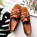 Women's Casual Genuine Leather Shoes SHeepskin Block Low Heels Pumps Round Adornment Brown Black Low Heels Shoes for women