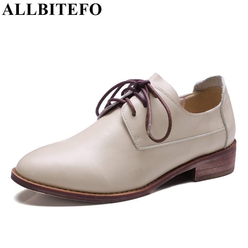 ALLBITEFO large size:33-42 full genuine leather thick heel comfortable women pumps fashion casual low-heeled shoes woman цена 2017
