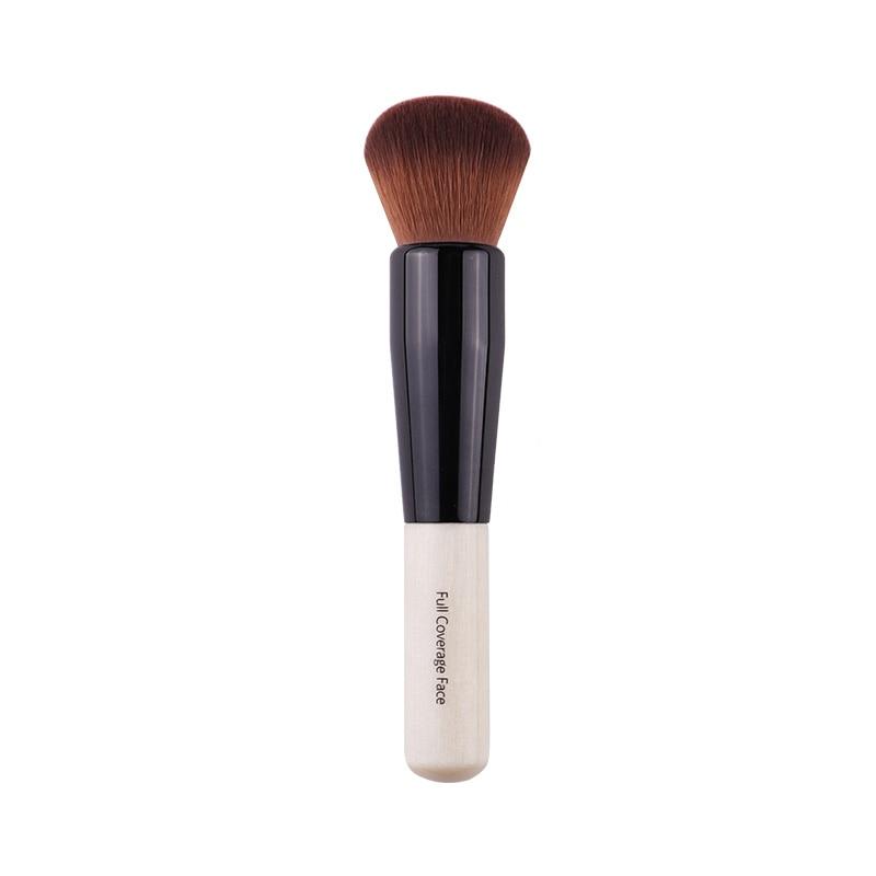 Maquillaje en polvo cepillo de mango de madera densa suave redondo de cerdas de la cobertura completa polvo cepillos cepillo contorno rubor hacer herramienta