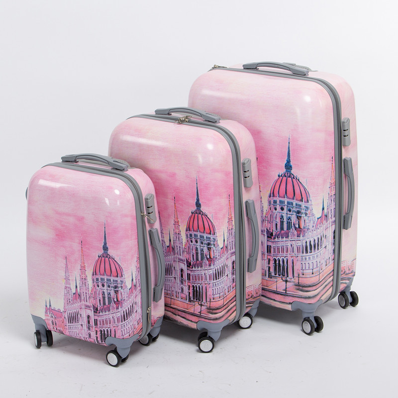 Girl pink pc hardside Palace trolley luggage set,20 24 28inches(3 pieces/set) universal wheel fairy tale travel luggage bags set михалис stunning days at pink palace agios gordios corfu island