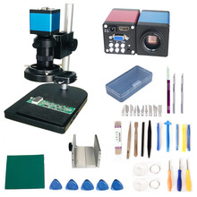 цена на 8X 100X 130X HDMI VGA 13MP Industrial Microscope Digital camera microscopio C-mount lens zoom pcb repair 56 led ring lights