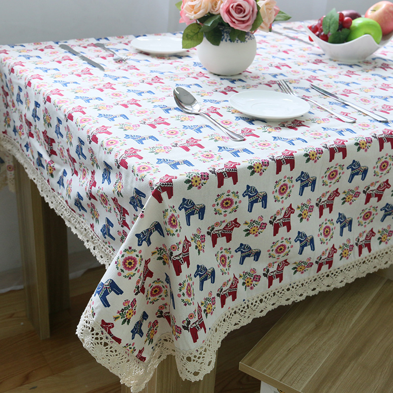 1 Piece European Small Horse Cotton And Linen Table Cloth/ Cute Cartoon  Rectangular Table Coth