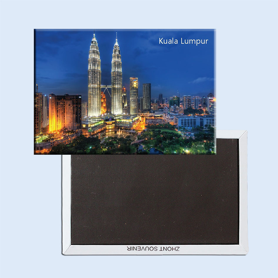 "Rectangle Rigid Magnets , Malaysia Kuala Lumpur City Twin Towers Scenery Tourist Rectangle 3""*2"" Metal Fridge Magnet 5379"