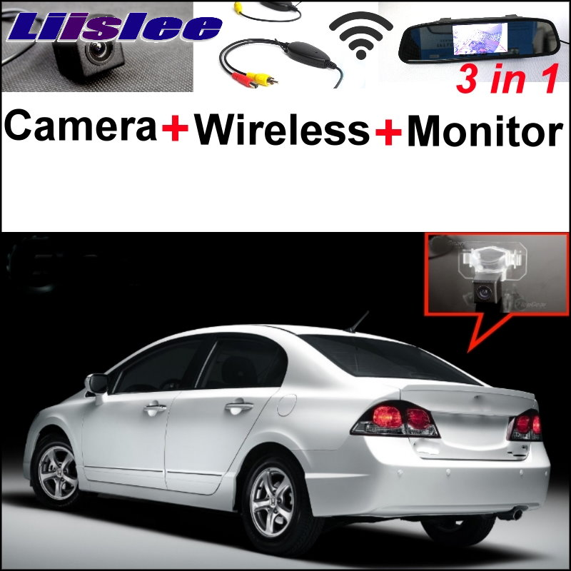 Liislee 3 in1 Special Camera + Wireless Receiver + Mirror Monitor Easy DIY Backup Parking System For Honda Civic 2006~2011 liislee 3in1 special rear view camera wireless receiver mirror monitor easy parking system for lexus ls430 celsior 2001 2017