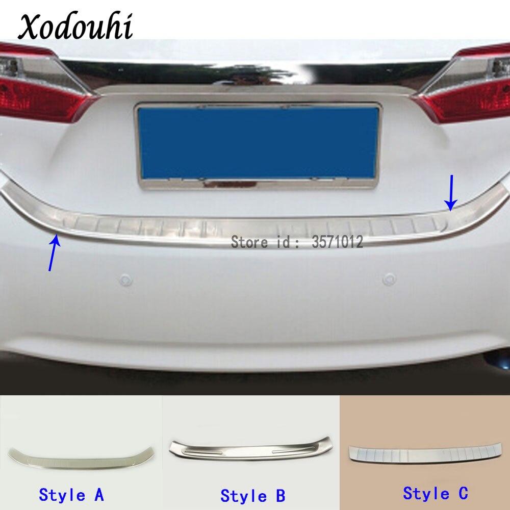Pour Toyota Corolla Altis 2014 2015 2016 couverture en acier inoxydable à l'extérieur du pare-chocs arrière plaque de garniture de coffre cadre pédale de seuil
