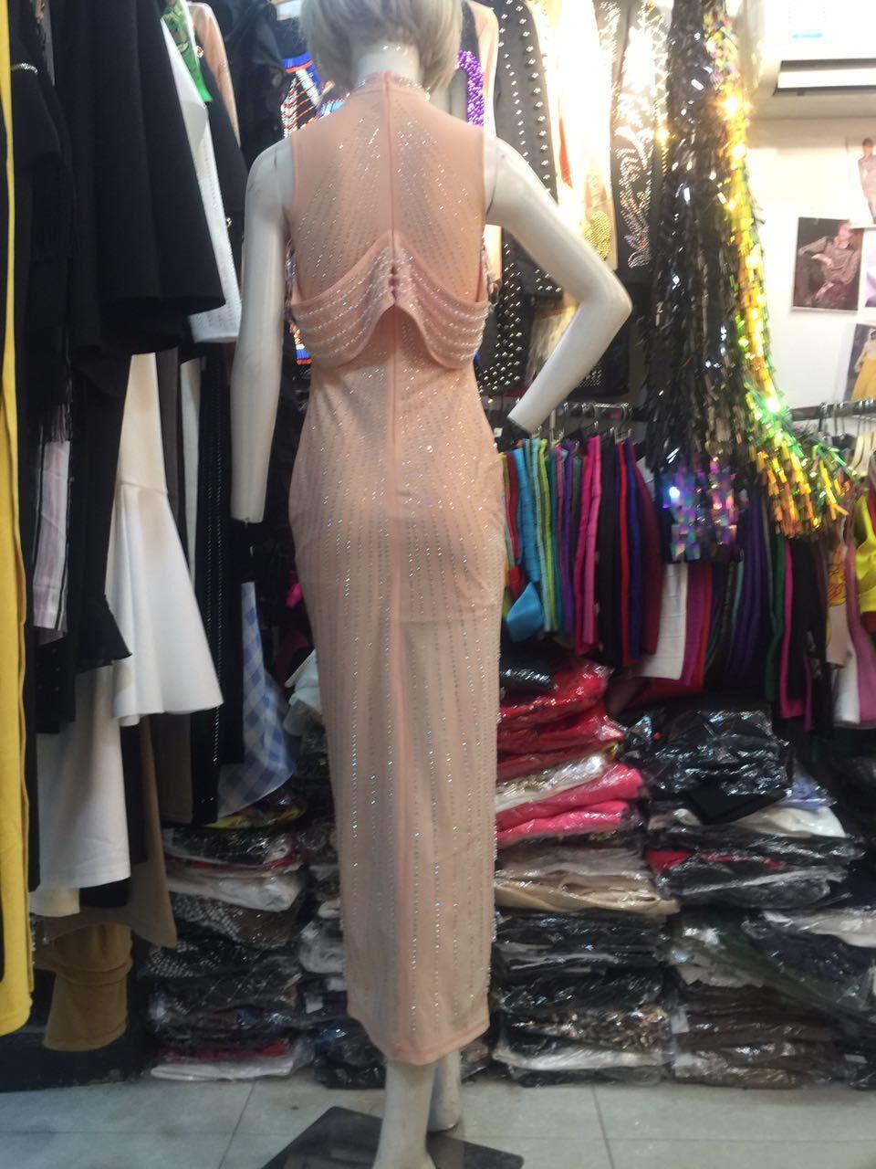 Rosa Vestido De Largo Negro rosado Las Rebordear Sólido Calidad Noche Del Partido Atractivas Hl Mujeres Negro Superior Split nSPP0RX