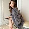 Новая мода подлинная женщин реального фокс шуба тонкий роскошный благородный натуральный мех лоскутное О-Образным Вырезом пальто