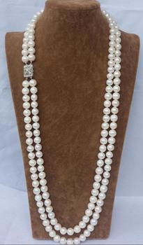 CHARMING NATURAL 2 ROW 9-10MM WHITE AAA++ AKOYA SOUTH SEA PEARL NECKLACE 24