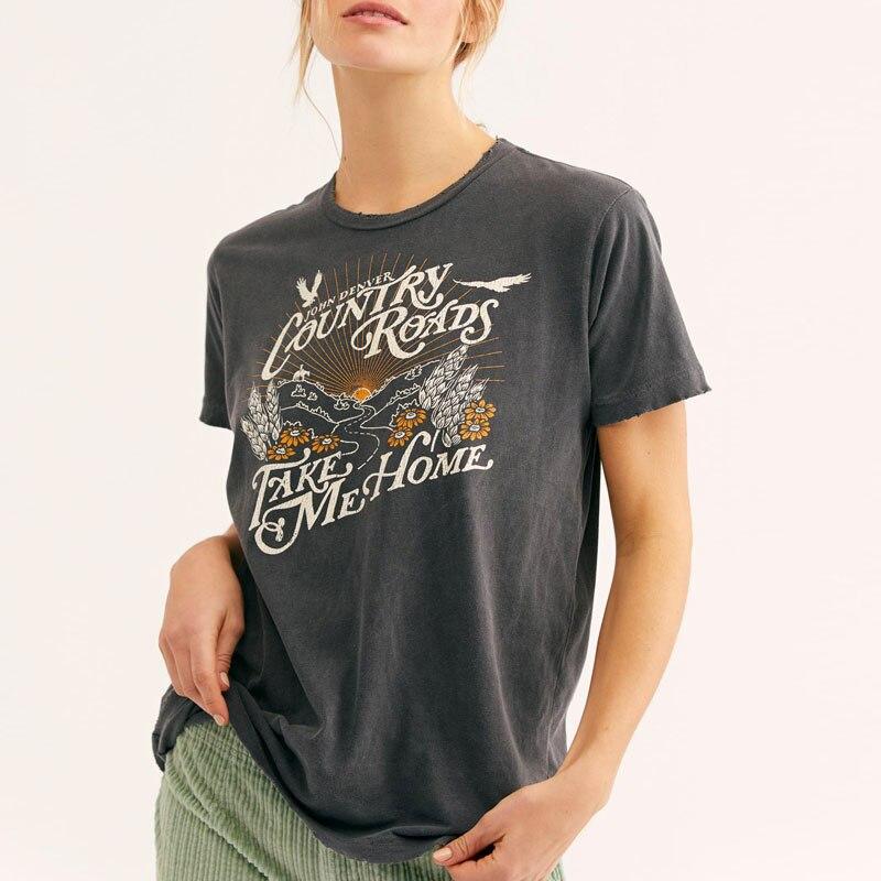 Богемный Вдохновленный Графические футболки и топы черного проселочных дорог футболка 2019, Женская Повседневная летняя обувь Топ boho футболка Новая футболка с принтом женский