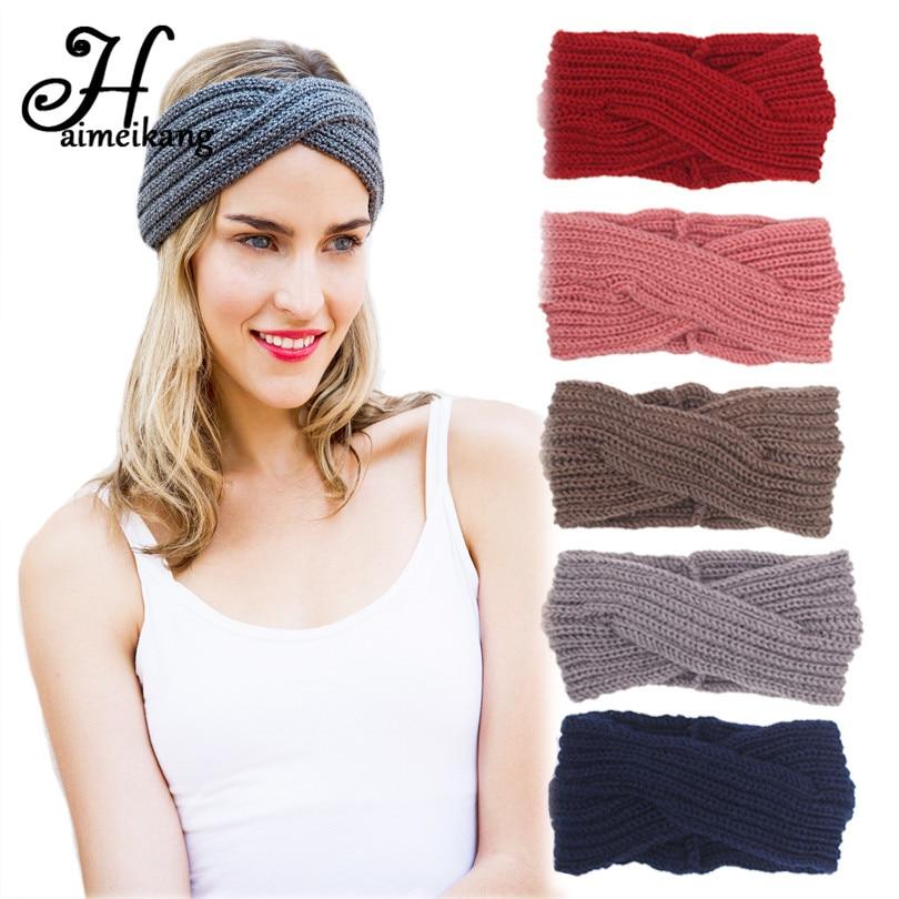 grand assortiment boutique pour officiel sortie de gros € 2.61 41% de réduction|Haimeikang Crochet Turban bandeau hiver plus chaud  tricoté laine croix larges bandes de cheveux pour accessoire cheveux pour  ...