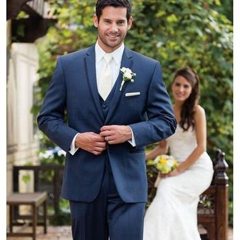 Navy Blue mens suits Groom Tuxedos Slim Fit One Button Custom Made Wedding Formal Bridegroom men Suit ( jacket+Pants+vest+tie)