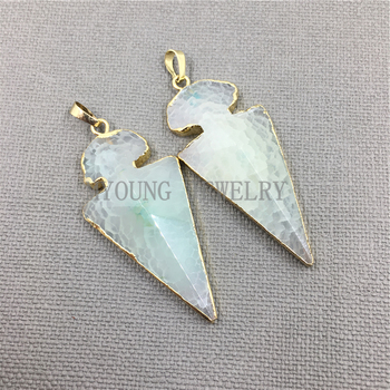 MY1049 Light Green Arrowhead Black Crackled Agates Pendant Charm,Natural Fire Agates Necklace Accessories