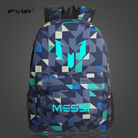 FVIP Teenagers Rucksack School Bag Logo Messi Backpack Footbal Bag Men Boys Travel Gift Kids Bagpacks
