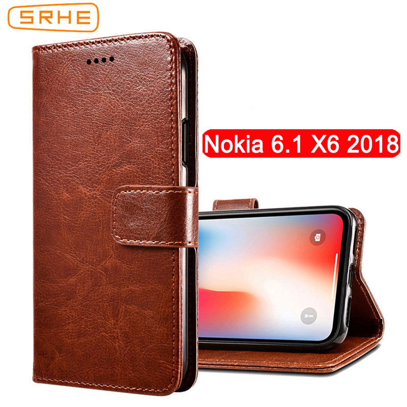 SRHE For Nokia 6.1 Case Cover For Nokia 6 2018 Flip Leather With Wallet Magnet Case For Nokia X6 2018 TA-1099 Nokia 6.1 Plus