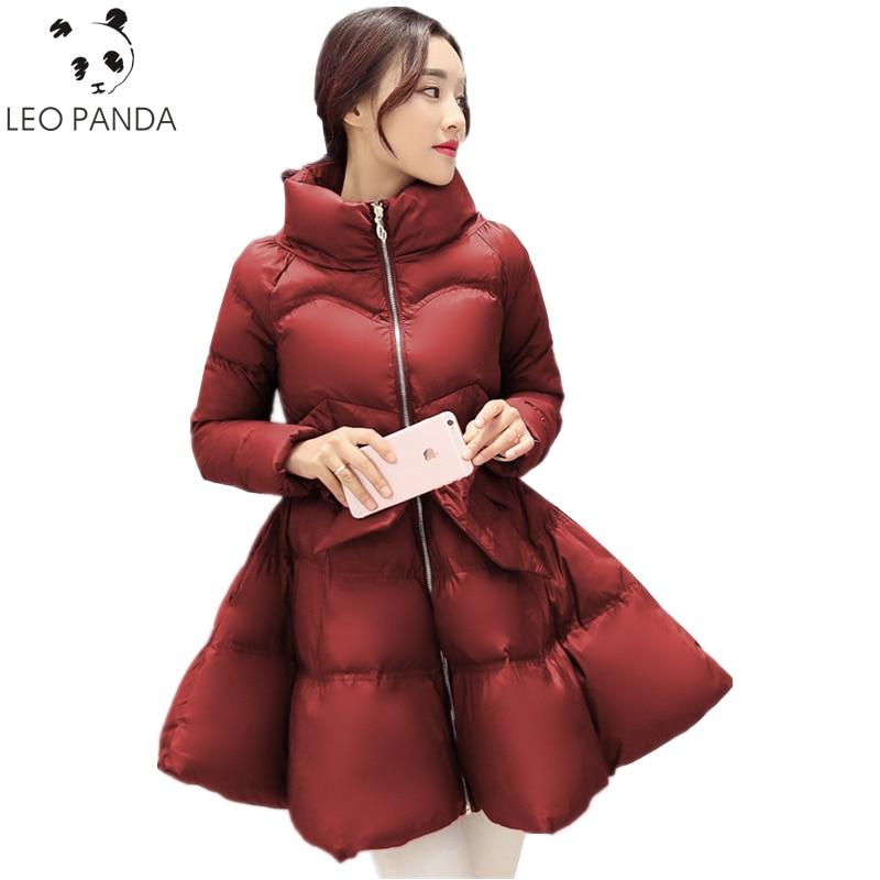 Winter Women Zipper 2019 New Bow Waist Fluffy Skirt Coat Female Slim Sashes Comfortable Sweet Down