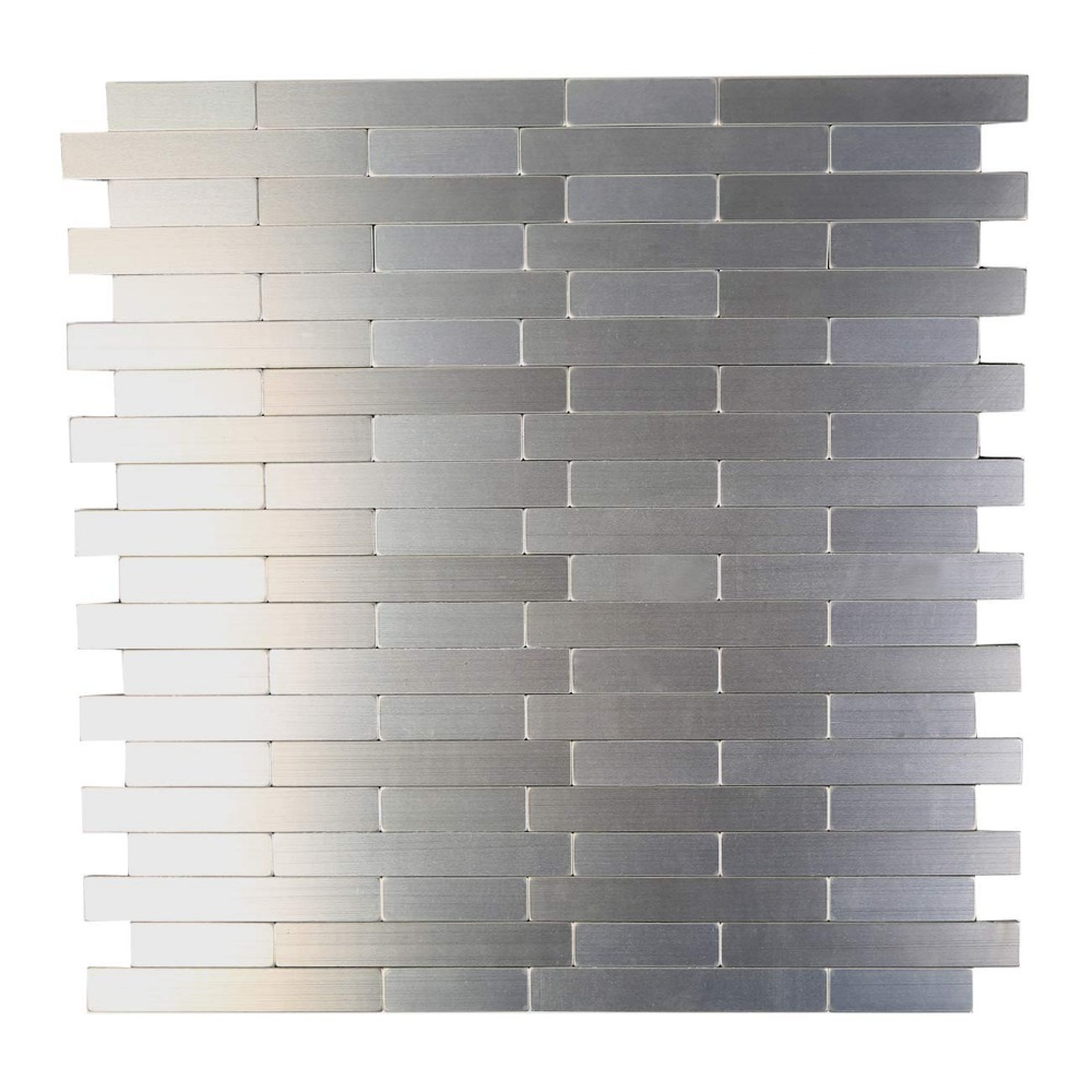 HomeyStyle Subway Stripe Puzzle Peel and Stick Tile Metal Backsplash for Kitchen Bathroom Stove Walls Self-Adhesive Aluminum Surface Metal Mosaic Tiles 3D Wall Sticker,Pack of 5 Tiles 12x12 Pack of 5 Tiles 12x12