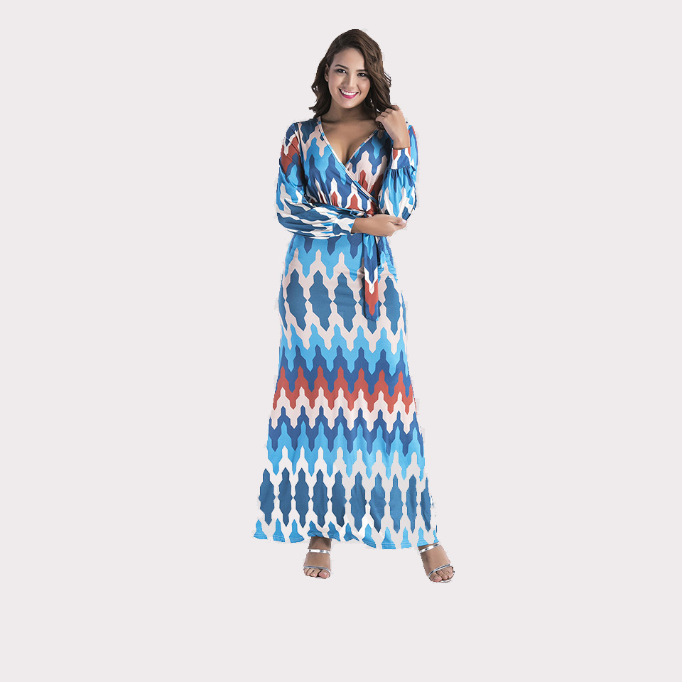 Summer Beach Women Dress Plus Size V Neck Long sleeves Dresses Party ...