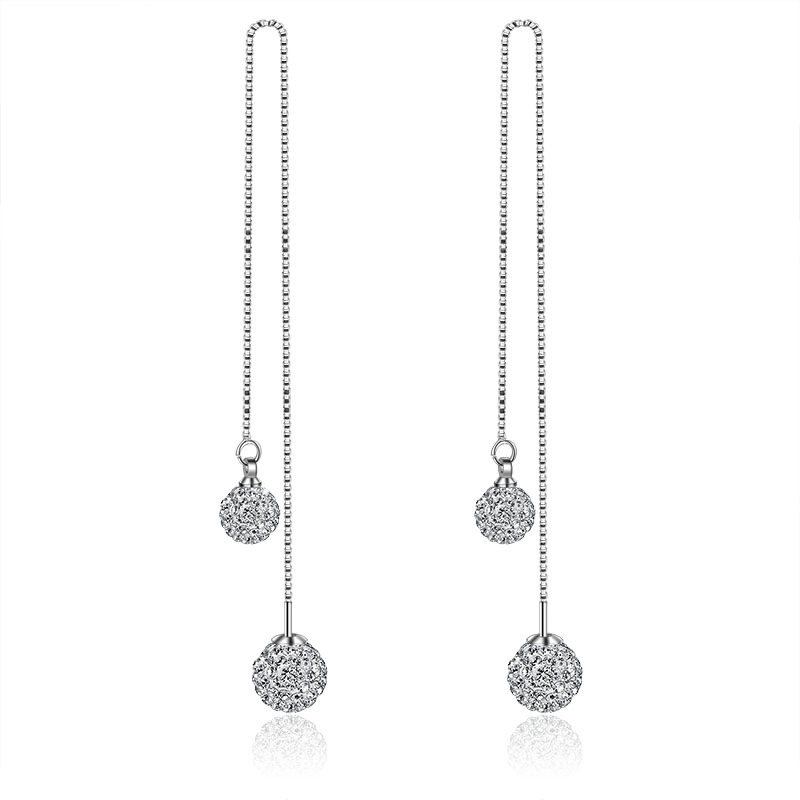 925 Sterling Silver Shambhala Double Ball Design Long Drop Earrings for Women Jewelry Birthday Gift New Hot Sale Wholesale