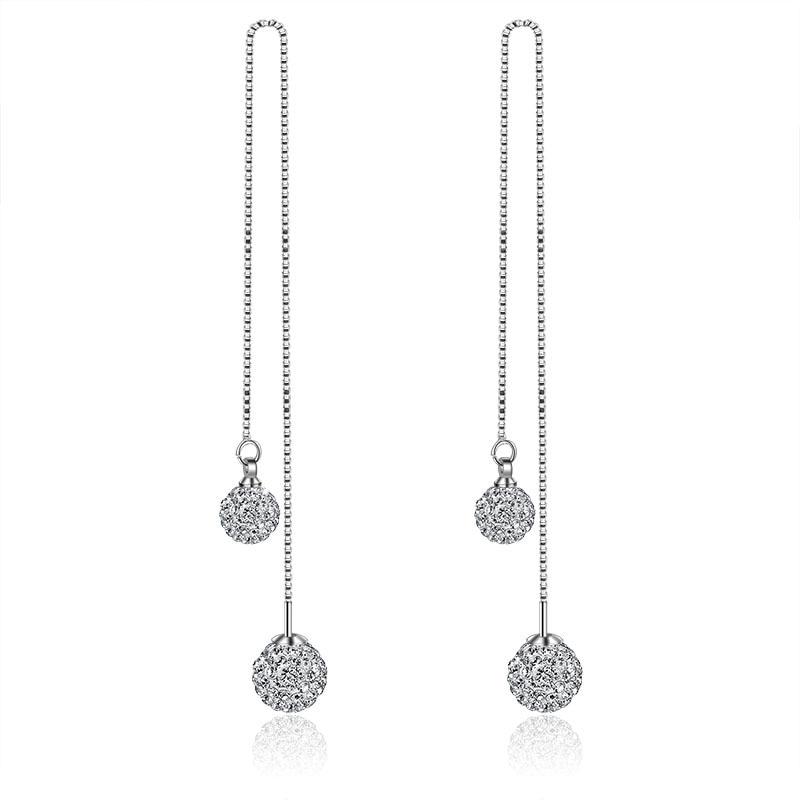 925 Sterling Silver Shambhala Double Ball Design Long Drop Earrings for Women Jewelry Birthday Gift New Hot Sale Wholesale