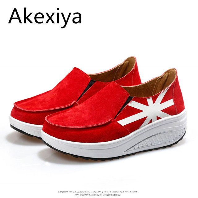 Akexiya Newest The Union Flag Fashion Women Red Shoes Slip On Slope Casual  Shoes Woman Pigskin