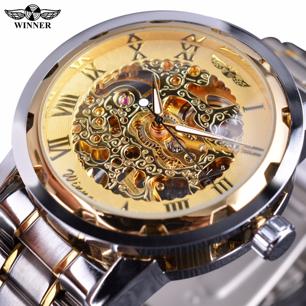 Winner Classic Design Transparent Case Golden Movement Inside Skeleton Wrist Watch Men Watches Top Brand Luxury Mechanical Watch winner dress classic men automatic mechanical watch stainless steel strap blue roman number transparent case design wrist watch