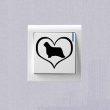 Love Bearded Collie Dog Switch Sticker Vinyl Decoration Wall Sticker 2SS0784