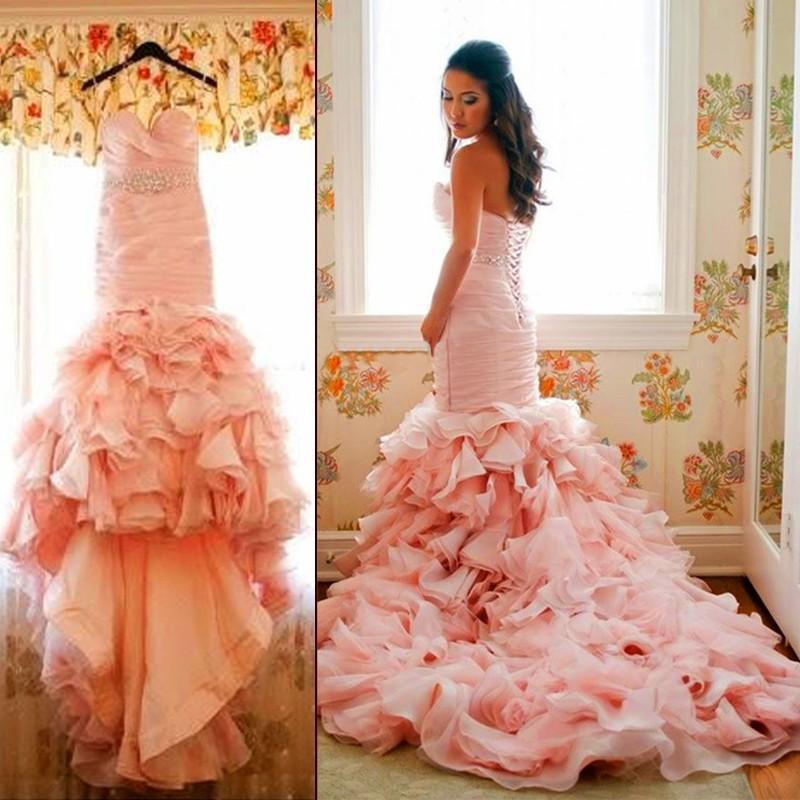 2016 Glamorous Blush Pink Organza Mermaid Wedding Dresses