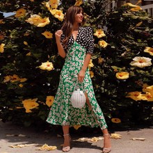 2019 Summer Women Floral Print Dress Female Short Sleeve Long Maxi Dress V Neck Streetwear Dress black leaf print v neck maxi dress