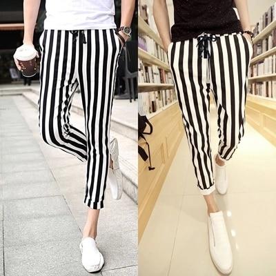 2015 Europea Pantalones Deportivos Nuevos Hombres de Rayas blanco y negro ML-XL-XXL Basculador Pantalones Pantalones de Deportes Al Aire Libre Ocasional Pantalones Masculinos