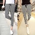 2015 European Sweatpants New Mens black and white Striped Jogger Pants Sportswear Outdoors Trousers M-L-XL-XXL Casual Male Pants