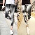 2015 Europeu Sweatpants New Mens preto e branco Listrado Calças ML-XL-XXL Casual Masculino Calças Basculador Calças Sportswear Ao Ar Livre