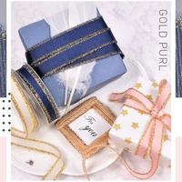 100yard/pcs DIY ribbon webbing Ribbed gold weft border belt Gift cake baking band ribbon high end wedding decoration ribbon bow