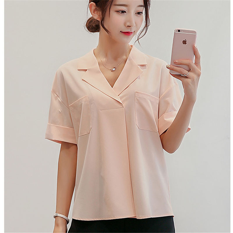 2016 quality summer style chiffon blouse solid color women for Solid color short sleeve dress shirts