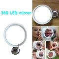 1 UNID Nueva Moda Portátil Lupa de 8x Makkeup Acción Brite LED Luces de Espejo Giratorio Espejo Cosmético