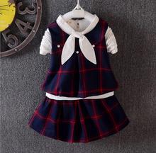 2017 moda verão crianças conjuntos de roupas menina colete + completa T-camisa + saia 3 pcs crianças algodão tops ternos de saia roupas HW1059