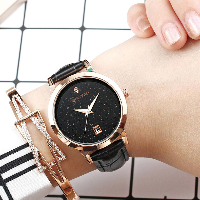 2018 SANDA Fashion Star Dial Women Watches Luxury Golden Leather Ladies Watch Wo