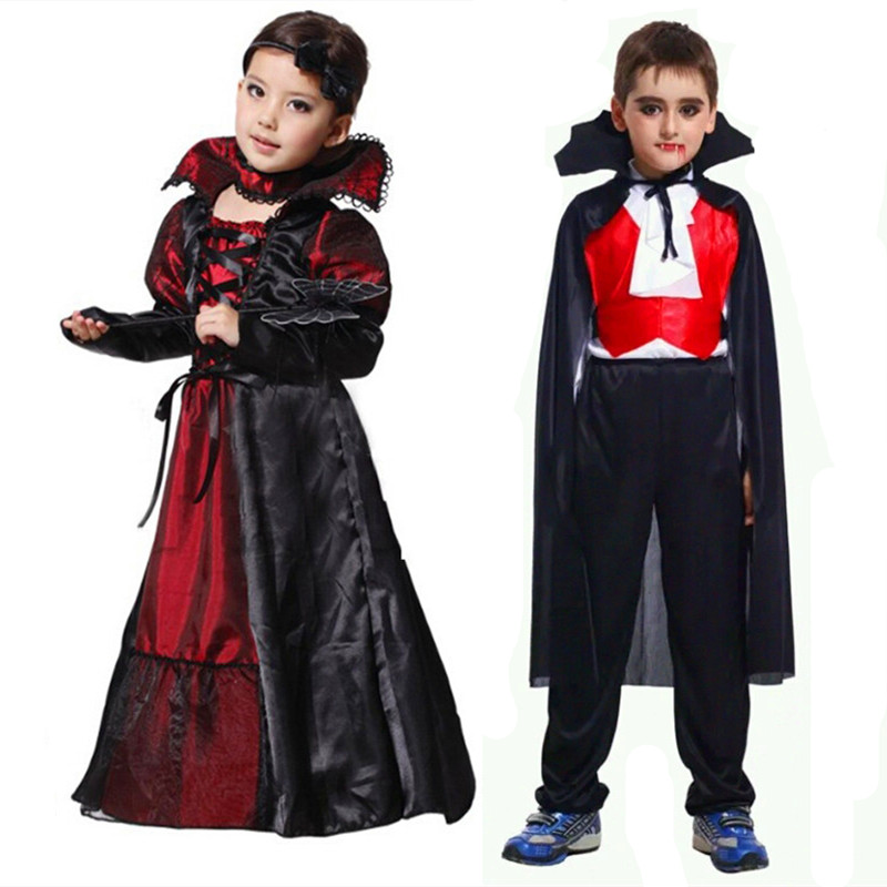 2018 New Vampire Queen Princess Cosplay Costumes Halloween Girls Boys Kids Black Lace Party Dress Couple Clothing