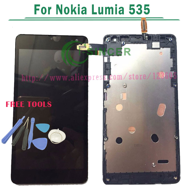 1/PCS For Microsoft For Nokia Lumia 535 LCD Display Screen Touch Digitizer with frame Assembly 1607 or 1973