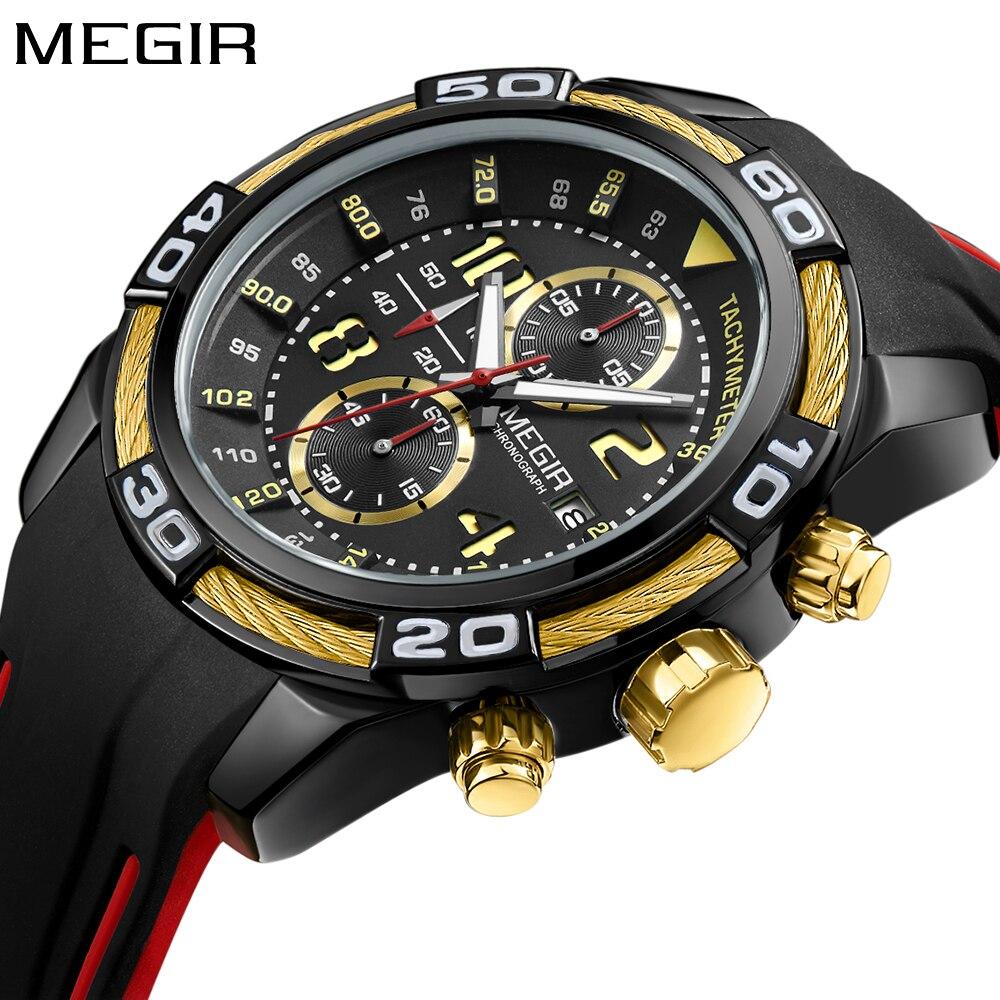 Megir Brand Luxury Chronograph Creative Watch Men Quartz Silicone Gold Watch Militra Sport Men's Wrist watches Relogio Masculino